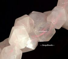 REGENCY ROSE QUARTZ GEMSTONE PINK FACETED HEXAGON NUGGET 17X13MM LOOSE BEADS 16""