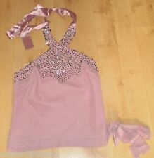SEXY Lilac SPARKLY Beads/Sequins HALTERNECK TOP Size 10 (NEW WITH TAGS)