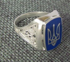 Mens Sterling Silver with Ukrainian Trident Tryzub  Ring,Blue Enamel,Size 10.5