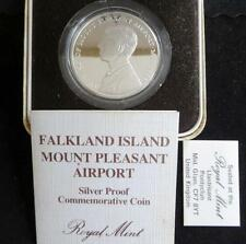 1985 SILVER PROOF FALKLAND ISLANDS 50p COIN BOX + COA MOUNT PLEASANT AIRPORT