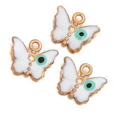 20x Hot Sale White&Green Enamel Golden Butterfly Charms Pendant Fit Necklaces L