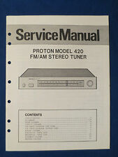 PROTON 420 TUNER SERVICE MANUAL ORIGINAL FACTORY ISSUE GOOD CONDITION