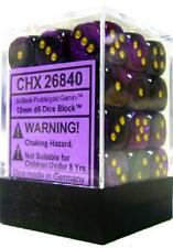 Dice Set: Gemini 4 12mm D6 Black Purple/Gold (36) CHESSEX 26840