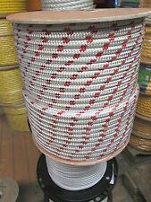 """1/2"""" X 100' Halyard sail line, polyester double braid 8500 USA ,White/Red Tracer"""