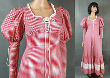 Vintage Gunne Sax Dress Jrs XS Sz 5 Red White Gingham Corset Prairie Girl Long