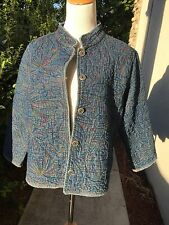 CHICO'S CHICOS 2 M L Jean Jacket Embroidered Heavy Weight Long Sleeve Button