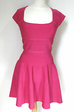 ISSA Pink Rayon Ribbed Knitted Skater stretch Dress M