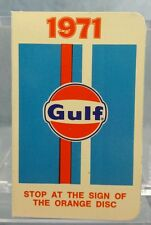 Vintage Advertising Pocket Wallet Calendar Card: 1971 Gulf Oil Gas (Orange Disc)