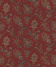 Wallpaper Van Luit Gold Tan Beige & Black Jacobean Floral Vine Toile on Red Faux