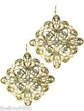"Spanish style Dangling Gold Filigree Earrings w/ Crystal Bling - 1 3/4"" Drop"