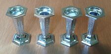 "PACK OF FOUR HEXAGONAL SILVER PLASTIC CAKE PILLARS 3"" HIGH - NEW"