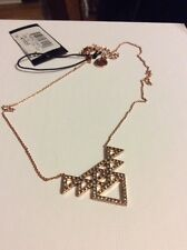 $68 House Of Harlow Rose Gold Ton Triangle Crystal Pave Tessellation Necklace #A