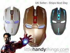 IRON MAN MARVEL AVENGERS Wireless USB Ottico Gaming Mouse ORO / NERO / BIANCO