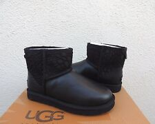 UGG BLACK CLASSIC MINI FLORAL LACE LEATHER SHEEPSKIN BOOTS, US 7/ EUR 38 ~NEW