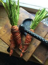 Primitive Carrot Easter Spring Raffia Rust Wire Bowl Filler Farmhouse Tuck Rusty