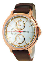 Fossil ES3594 Chelsey Day Date Analog Silver Dial Dark Brown Leather Band Watch