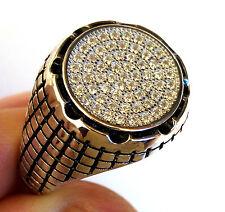 Turkish 925 S. Silver Black Topaz Stone Men's Ring Sz 9.5 us #0215 free resize