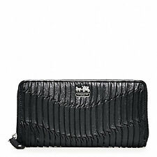 NWT COACH MADISON GATHERED LEATHER ZIP AROUND WALLET BLACK SILVER 46481