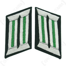 WW2 German Army Officer COLLAR TABS - PANZER GRENADIER Piping Grass Green Piped