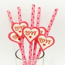 25 pcs Paper Drinking Straws with Sticker Tags For Valentine's Day pattern 4