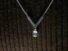 "A Sparkly Silver-tone Necklace w/V-Shaped Rhinestone Pendant 20"" Long."