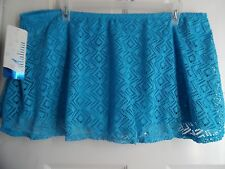 CATALINA SWIMSUIT CROCHET LOOK FLARE SKIRT SKIRTINI PANTY BIKINI BLUE 3X 22W 24