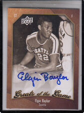 """2009-10 UPPER DECK GREATS OF THE GAME ELGIN BAYLOR """"LOS ANGELES LAKERS AUTOGRAPH"""