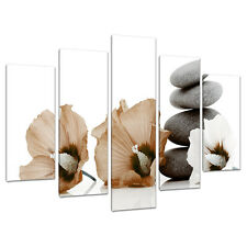 Set of 5 Piece Brown Canvas Wall Pictures Flowers Bedroom Prints 5073
