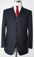 Canali Gray Striped Wool Two Button Side Vented 3 Piece Suit 40 L 34 33 Flat