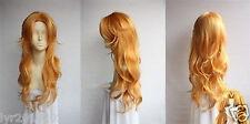 BLEACH Matsumoto Rangiku Long Orange Mix Curly Cosplay Wig + gift