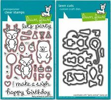 Lawn Fawn Photopolymer Clear Stamp & Die Combo ~ PARTY ANIMAL ~LF893, LF894