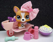 LITTLEST PET SHOP CUTE TAN WHITE CORGI #1360 SKIRT BOW TRICYCLE ACCESSORIES