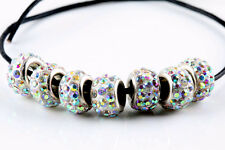 20Pcs Czech Crystal Rhinestone Pave Rondelle Spacer Beads Jewelry Making DIY