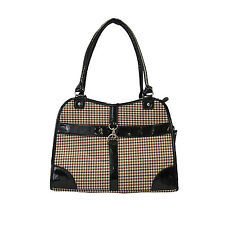 Cat/Dog Fashion Houndstooth Print Tote Bag Carrier Black/Brown-226