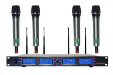 For Stage 4x100 Channel UHF Wireless Handheld Microphone Mic System US Seller