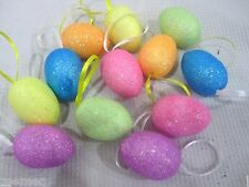 Easter Glitter MINI Eggs Styrofoam Tree Ornaments Decorations Decor Set of 12