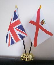 UNION JACK AND JERSEY TABLE FLAG SET 2 flags plus GOLDEN BASE