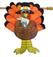 "Turkey Thanksgiving 3D Applique House Flag Embroidered  Decorative  31"" x 41"""