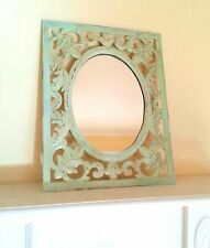 "Shabby Chic Vintage Mirror, Brass Patina Mirror, 15"" Rectangle, with Oval Mirror"