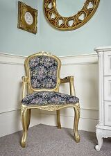French Louis Armchair Gold Vintage Shabby Chic Bed Room Antique Style Bedroom
