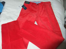 POLO RALPH LAUREN CLASSIC FIT  RED LUXURY FEEL CORD NEWPORT TROUSERS 32X32