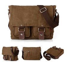 Unisex Vintage Men Canvas Leather Laptop Messenger Crossbody Shoulder School Bag