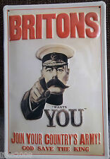 BRITONS/ JOIN ARMY: EMBOSSED (3D) METAL ADVERTISING SIGN 30X20 CM LORD KITCHENER