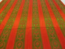 Vintage Retro 1 Curtain Fabric Original  Red Green Satin Brocade Cushions Craft