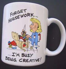 Funny Tea Cup~Decorative~Collectible~Unique~In Stitches~by Michele Johnson~EUC