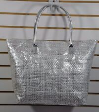 NWT Women's BLACK RIVET, Large SUMMER Woven Shoulder TOTE Bag. $40-Silver