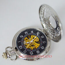 Crystal Case automatic mechanical hollow pattern silver pocket watch +chain