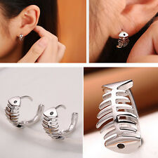 1pair Women Silver Fish Bone Ear Stud Fishbone Fashion Earrings Jewelry Gift