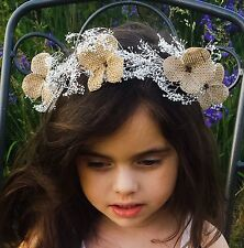 Girl's White Flower Crown Headband Rustic Baby's Breath Hair Wreath