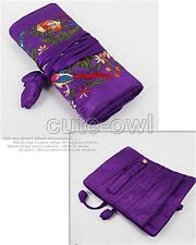 Chinese SILK Brocade embroidery JEWELRY TRAVEL BAG Roll Case Pouch Brocade bag